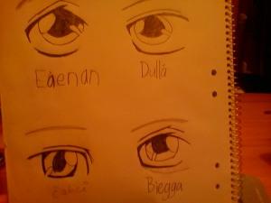 Øynene til de fire heltene. Foto: Anne Wuolab.